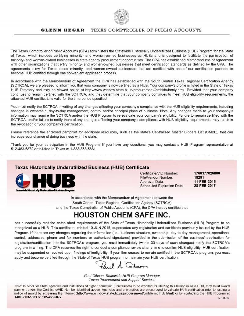 Houston chem safe inc hcs supplies certifications 1betcityfo Gallery